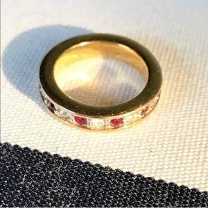 Jewelry - 💥SALE Eternity Swarovski Ruby & Diamond Gold Ring